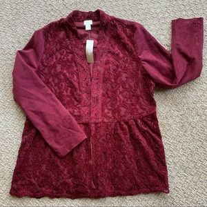 Chico's Faux Suede & Lace Red Maple Jacket